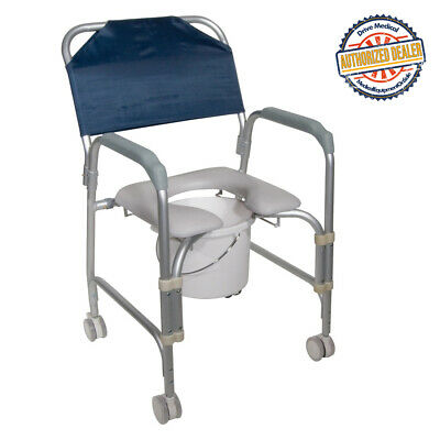 Drive 11114KD-1 Lightweight Portable Shower Commode Chair with Casters