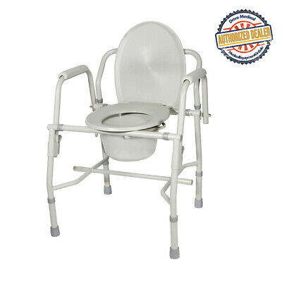 Drive 11125KD-1 Steel Drop Arm Bedside Commode with Padded Arms