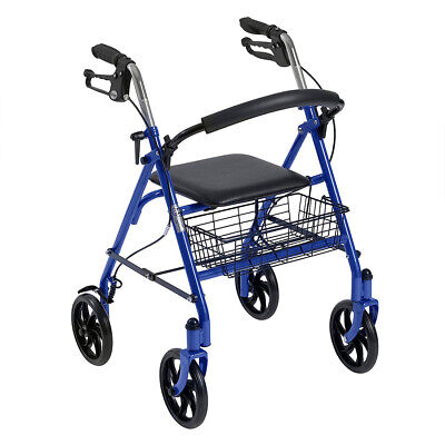 Drive Four Wheel Walker Rollator with Fold Up Removable Back Support, Blue