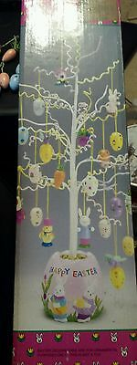 Easter Tree Paper Wrapped Wire Ceramic Base 17 Ornaments -used-see description