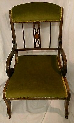 Antique Edwardian Mahogany Framed Low Side Chair c.1900