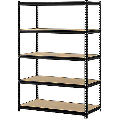 Storage Rack Muscle 5 Shelf Steel Shelving Heavy Duty Garage Unit Metal Black
