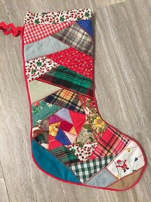 "Vintage Patchwork Christmas Stocking 16"" Long"
