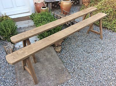 Pair Of Antique Vintage French Farmhouse Benches Rustic