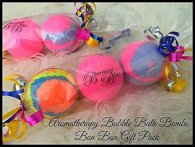 AROMATHERAPY BUBBLE BATH BOMBS Bon Bon Gift Pack  PURE HANDMADE GENTLE 160g