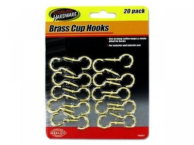 Brass Cup Hooks, Case of 12