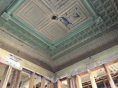 Antique Victorian Reclaimed Tin Ceiling pressed pattern 120+ year old foyer