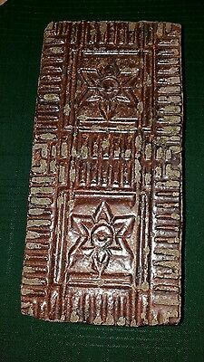 "ANTIQUE, NELSONVILLE RED SALT GLAZED BRICK W/DBL.STARS c.1900, 10"" X 5"" X 2.5"""