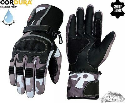 Grey Camo Mens High Quality Ce Motorbike / Motorcycle / Motocross Textile Gloves
