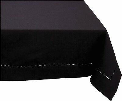 HEMSTITCH Table Cloth 100% Cotton BLACK 5 Sizes RECTANGLE and ROUND