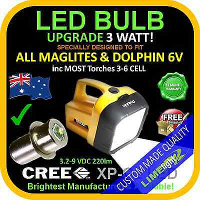 LED 3.2-9V UPGRADE CREE 3W BULB GLOBE for DOLPHIN,MAGLITE,FLASHLIGHT,TORCH 250lm