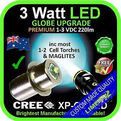 LED 1-3V UPGRADE CREE 3W BULB GLOBE for MAGLITE FLASHLIGHT TORCH 220lm 1-2 C/D