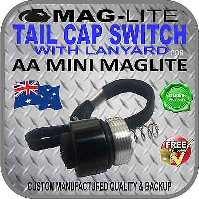 Mini Maglite Upgrade Aa Incandescent Tail Cap Switch W-Lanyard Push Button Black