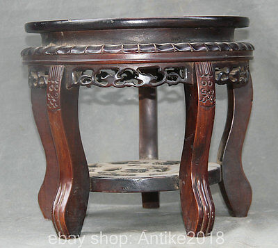 31CM Antique Chinese Rosewood Dynasty Palace Hand Carved Round Chair Footstool