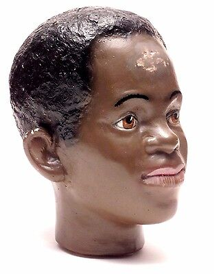 ANTIQUE - VINTAGE AFRO-AMERICAN YOUTH MANNEQUIN HEAD - 1940's?