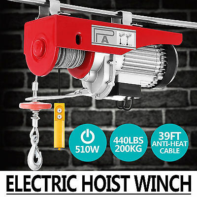 Electric Hoist Winch 200KG 240V Cable Lift Tool Remote Chain Lifting Rope Crane