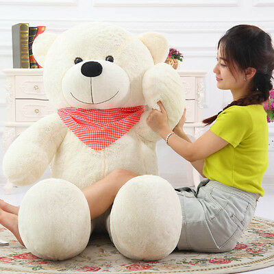 1.2m Tall Giant Huge Stuffed Teddy Bears Cuddly Plush Doll Great Gift White