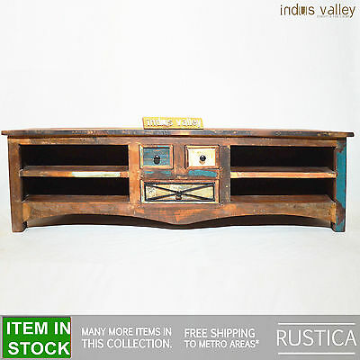 RUSTICA Recycled boat Timber wood entertainment TV unit lowline plasma stand L