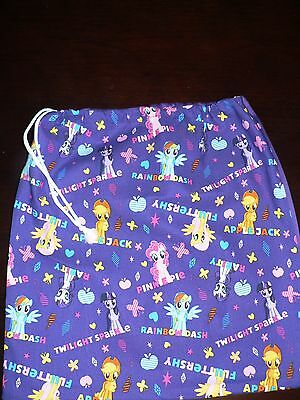 Handmade kids library bags first name  embroidered free My Little Pony  Print