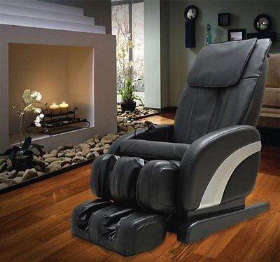 Reclining Massage Chair Full Body Heat Relax Leather Luxurious Armchair Black