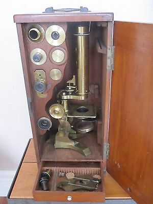 Rare And Scarce 19th Century Brass Microscope By James How, London C.1862