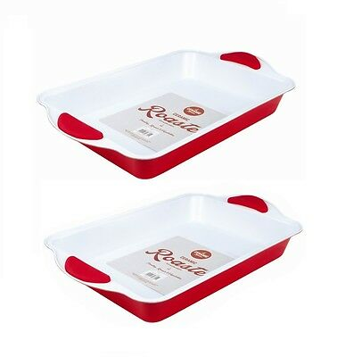Ceramic Coated Non-stick Red Baking Roasting Tray (Pack of 2)