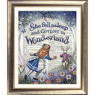 Dictionary Page Art ALICE IN WONDERLAND PRINT Vintage ANTIQUE Quote Book Picture