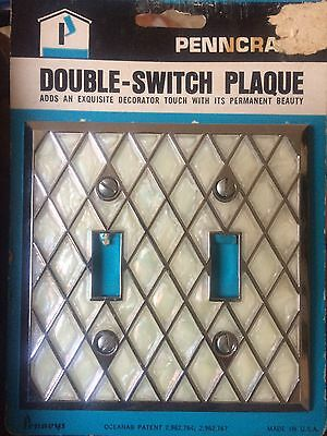 VINTAGE NOS PENNEYS MOTHER OF PEARL CHROME DOUBLE SWITCH PLATE COVER w/ SCREWS