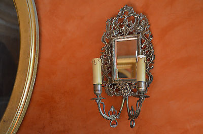 antique French 19th century solid brass girandole/mirrored wall sconce