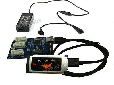 SINTECH laptop expresscard to 3port 1X Multiplier HUB riser card with 50cm cable