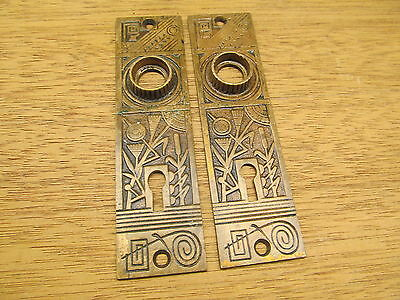 Pair Old Eastlake ?? Brass ? Bronze ? Arabic ? Oriental ? Escutcheon...faceplate