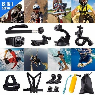 12 in 1 Pole Head Chest Mount Strap Case Sport Camera Accessories Action Set Kit