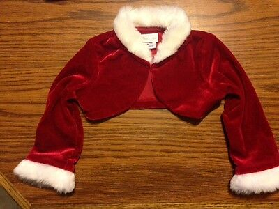 Girls Christmas Bolero Perfectly Dressed Size 9 months Red White trim