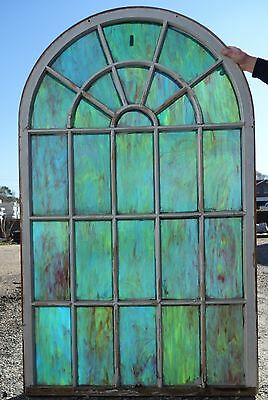 Vintage Stained Glass Rounded Church Window 71 x 43 Part 1 of 2 FREE SHIPPING