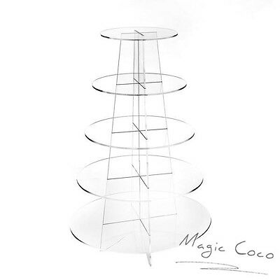 5 Tier Round Cupcake Stand  Dessert Tower Clear Acrylic Display Cake Stand Fast