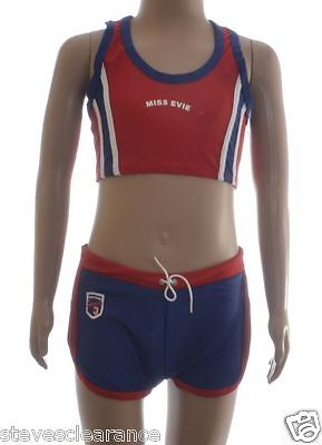 Girls swimwear / gym set shorts with crop top lycra new