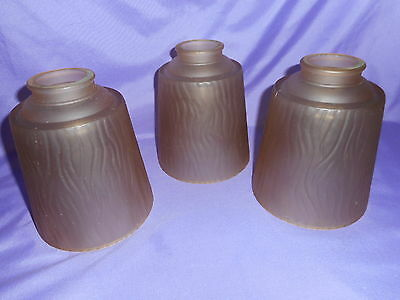 "3 Brown Frosted Glass Ceiling Fan Light Shade Globe 2 1/8"" Fitter Bark Design"