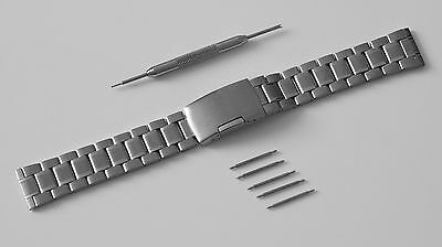 Stainless Steel Deployment Clasp Watch Strap Band Bracelet - WITH PINS & TOOL