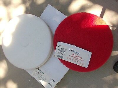 """17"""" White & Red Floor Buffing / Polishing  Pads  3- White & 2- Red"""