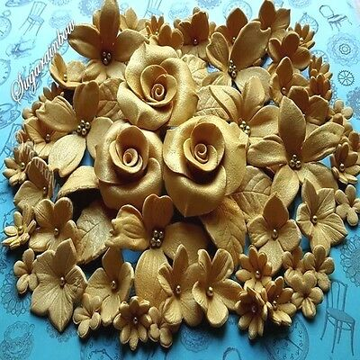 96 Edible Sugar Flowers Roses Cake Cupcake Toppers Decorations Gold