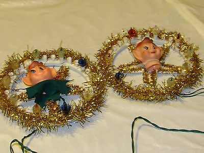 Vintage Collectible~2-Christmas Pixie Wreaths/decorations For Windows Or Trees