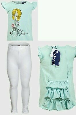 Baby Girls Leggings & Cute Mint Top Bespoke Quality Outfit. 2-3 Years