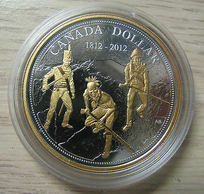 2012 Proof $1 200th Anniversary War of 1812 .9999 Silver Dollar w/ Gold Canada