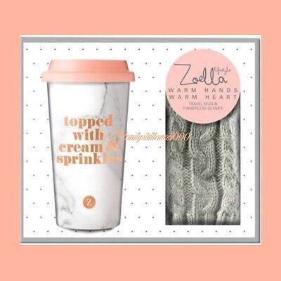 Zoella Warm Hands Warm Heart Gloves/Cup -christmas Gift Set 1ST CLASS POST!