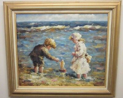 Original Oil Painting By S Hobbs Children Playing On A Beach