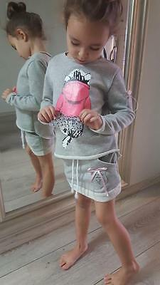 Long-sleeved TOP and SKIRT Set, grey, size 2 to 8 years, girls