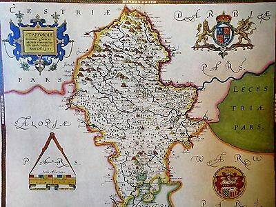 1577 Antique Colour Map Of Staffordshire - Christopher Saxton - Reproduction