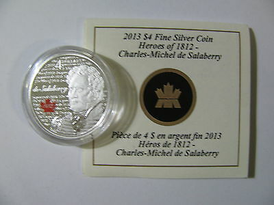 2013 Proof $4 War of 1812 Heroes #3-Lt Col Charles De Salaberry COIN&COA ONLY .9