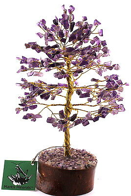 "Amethyst Gemstone Gold Wire Tree - Large 8-9"" Tall With 300 Amethyst Leaves"