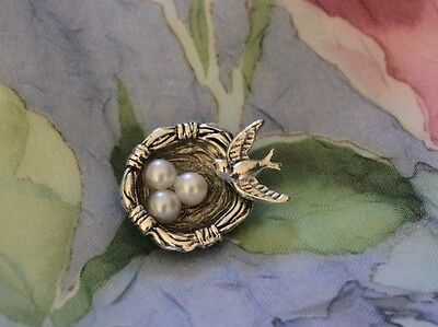 """Adorable Vintage Silver 1"""" Shank Button""""Tiny Sparrow Bird Nest and Pearl Eggs"""""""